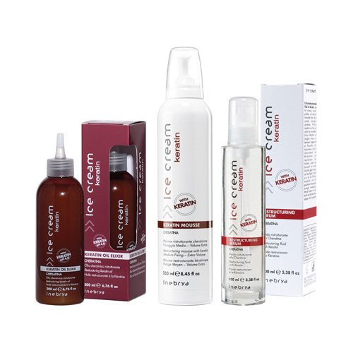 ICE CREAM KERATIN - mousse, serum, olie elixir - INEBRYA
