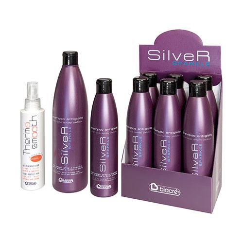 THERMO lisse - speciale piastra SILVER SPARKLE - shampooing antigiallo - BIACRE'